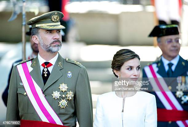 King Felipe VI of Spain and Queen Letizia of Spain attend the 2015 Armed Forces Day at Plaza de la Lealtad on June 6 2015 in Madrid Spain