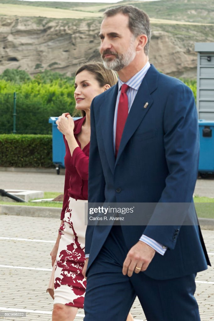 King Felipe VI of Spain and Queen Letizia of Spain attend the 25th anniversary of National Center of Food Safety and Tecnology (CNTA) on June 6, 2017 in San Adrian, Spain.