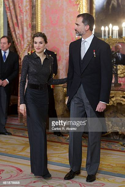 King Felipe VI of Spain and Queen Letizia of Spain attend the annual Foreign Ambassadors reception at the Royal Palace on January 21 2015 in Madrid...