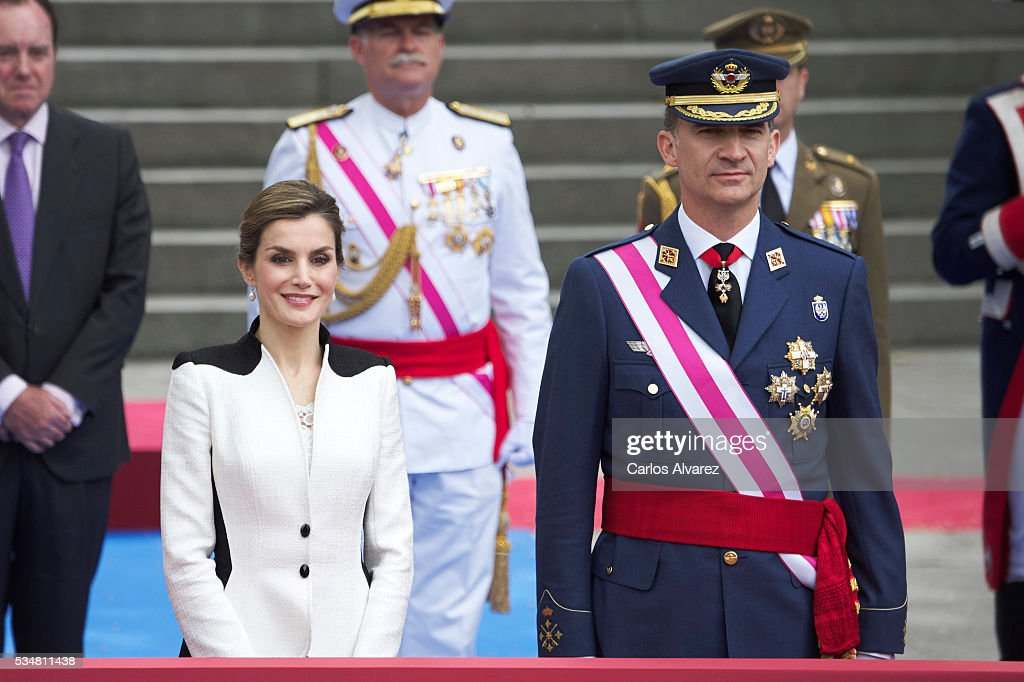 King Felipe VI of Spain and Queen Letizia of Spain attend the Armed Forces Day Hommage on May 28, 2016 in Madrid, Spain.