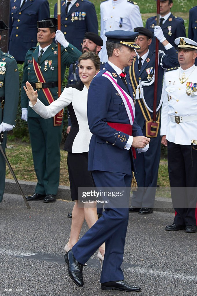 King Felipe VI of Spain and Queen Letizia of Spain (C) attend the Armed Forces Day Hommage on May 28, 2016 in Madrid, Spain.