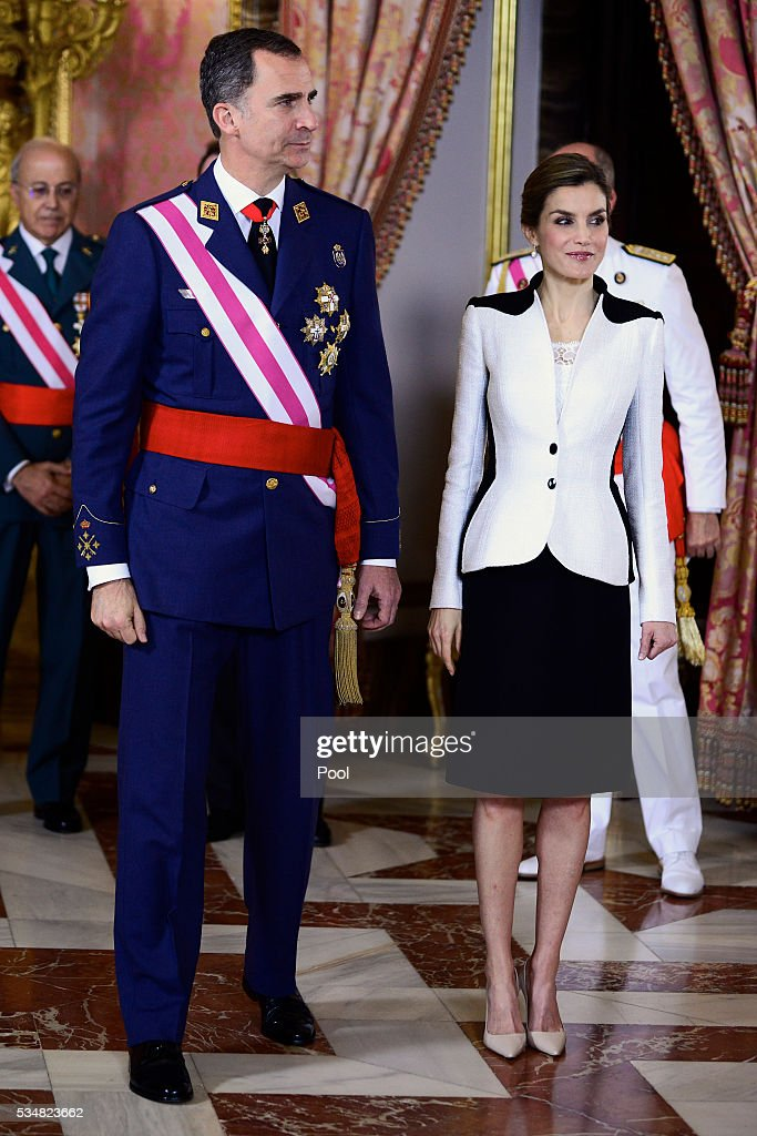 King Felipe VI of Spain and Queen Letizia of Spain attend the Armed Forces Day Hommage reception at the Royal Palace on May 28, 2016 in Madrid, Spain.