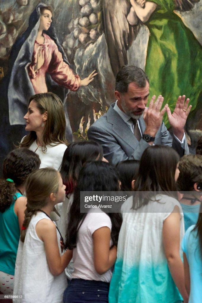 King Felipe VI of Spain and Queen Letizia of Spain attend 'The Art of Educating' (El Arte de Educar) school program at El Prado Museum on June 19, 2017 in Madrid, Spain.