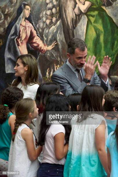 King Felipe VI of Spain and Queen Letizia of Spain attend 'The Art of Educating' school program at El Prado Museum on June 19 2017 in Madrid Spain