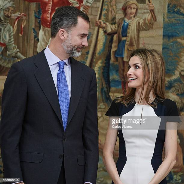 King Felipe VI of Spain and Queen Letizia of Spain attend the 'National Culture' awards at the El Pardo Palace on February 16 2015 in Madrid Spain