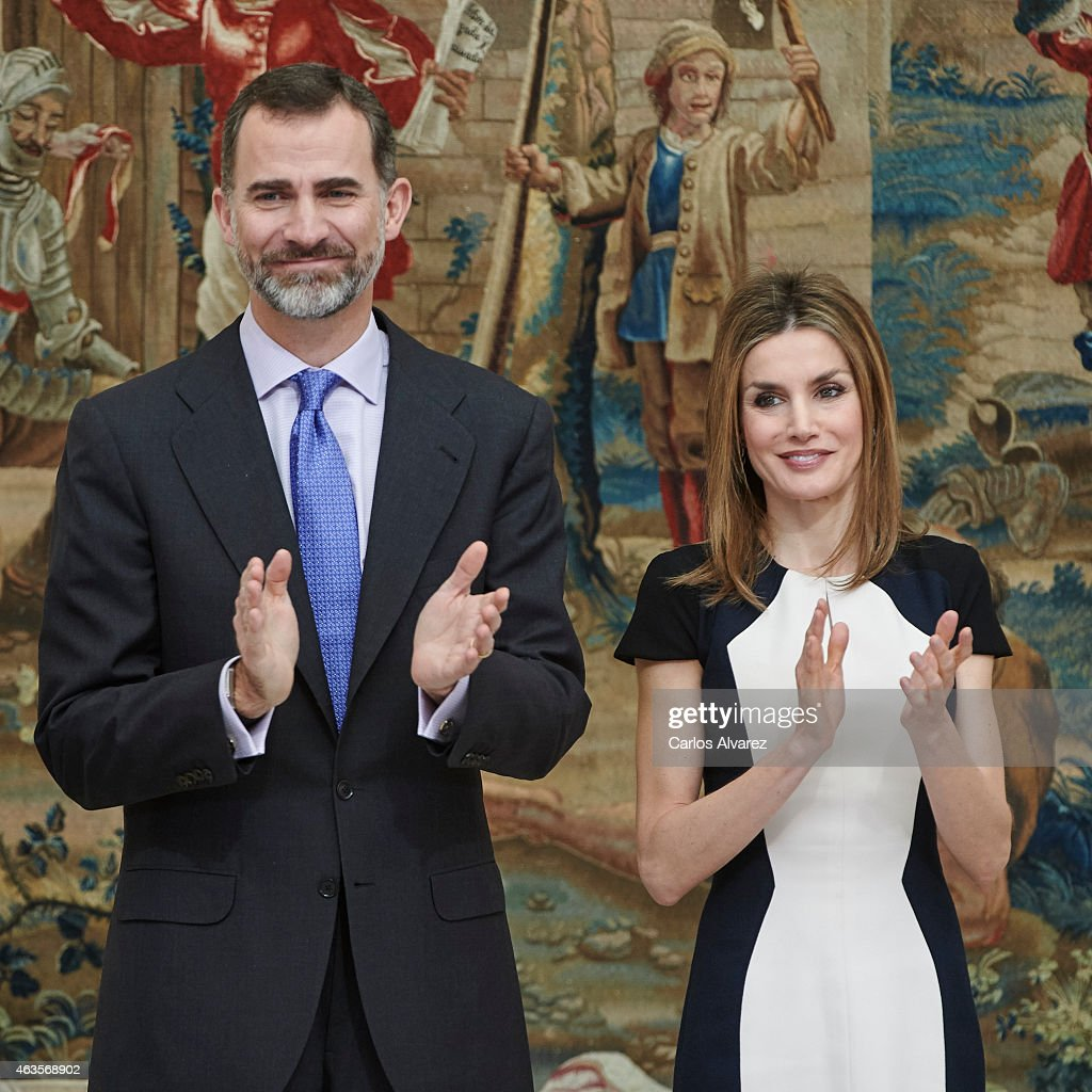 King Felipe VI of Spain and Queen Letizia of Spain attend the 'National Culture' awards at the El Pardo Palace on February 16, 2015 in Madrid, Spain.
