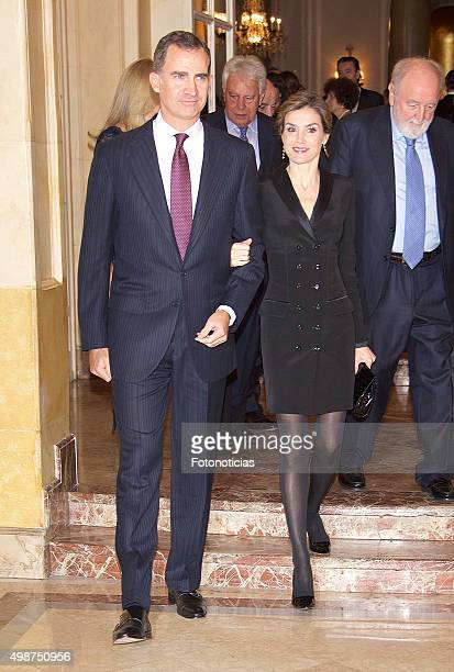 King Felipe VI of Spain and Queen Letizia of Spain attend the Francisco Cerecedo Journalism Award Ceremony at The Ritz Hotel on November 25 2015 in...