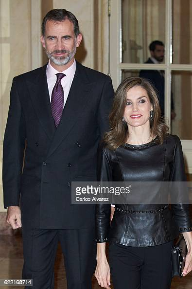 King Felipe VI of Spain and Queen Letizia of Spain attend the 'Francisco Cerecedo' journalism award at the Ritz Hotel on November 10 2016 in Madrid...