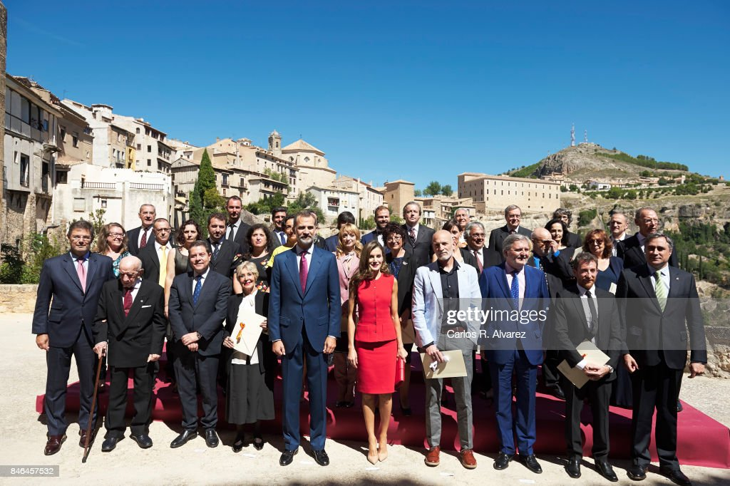 King Felipe VI of Spain and Queen Letizia of Spain (C) attend the 'National Culture'' awards at the Santa Maria y San Julian Cathedral on September 13, 2017 in Cuenca, Spain.