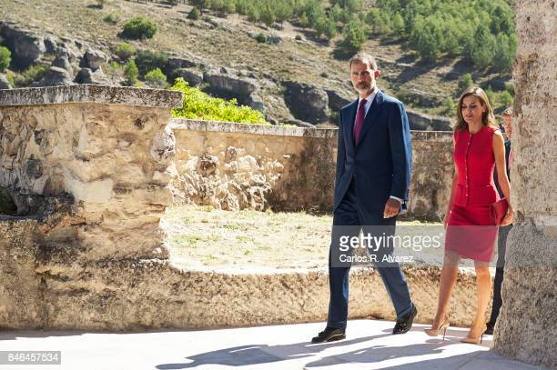 King Felipe VI of Spain and Queen Letizia of Spain attend the 'National Culture' awards at the Santa Maria y San Julian Cathedral on September 13...