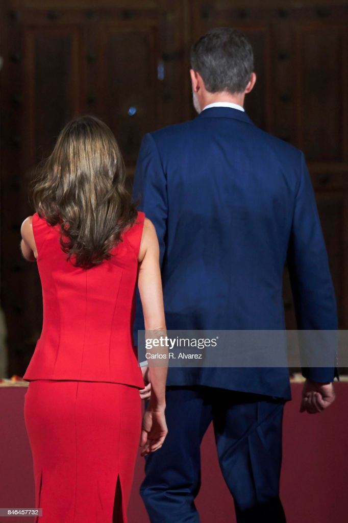 King Felipe VI of Spain and Queen Letizia of Spain attend the 'National Culture' awards at the Santa Maria y San Julian Cathedral on September 13, 2017 in Cuenca, Spain.