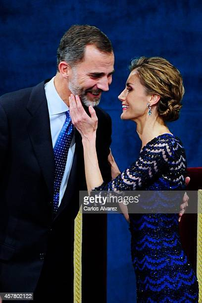 King Felipe VI of Spain and Queen Letizia of Spain attend the Principe de Asturias Awards 2014 ceremony at the Campoamor Theater on October 24 2014...