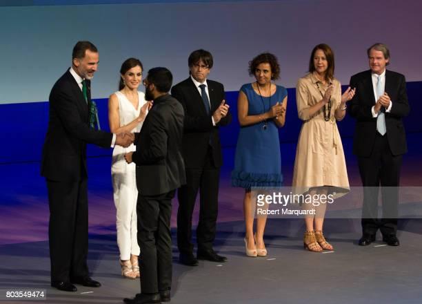 King Felipe VI of Spain and Queen Letizia of Spain attend the 'Princesa de Girona' foundation awards held at the Palacio de Congressos de Girona on...