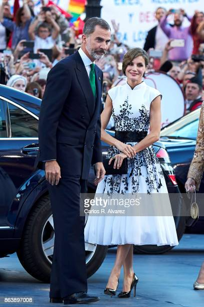 King Felipe VI of Spain and Queen Letizia of Spain attend the Princesa de Asturias Awards 2017 ceremony at the Campoamor Theater on October 20 2017...