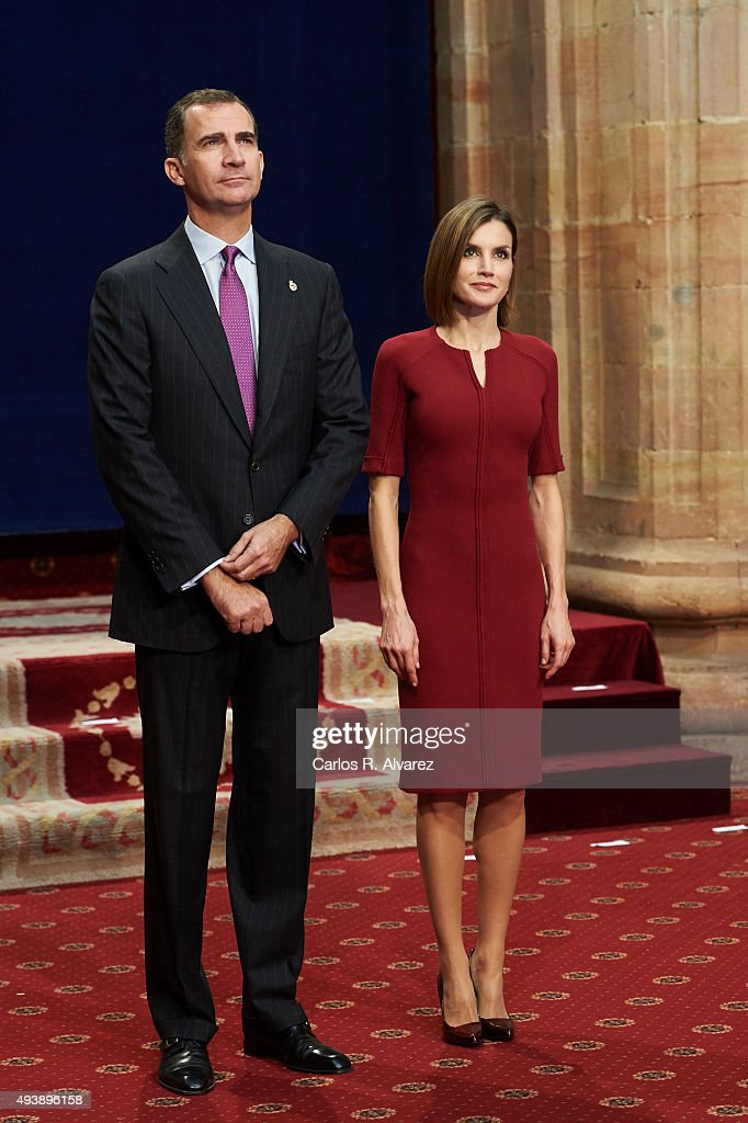 King Felipe VI of Spain and Queen Letizia of Spain attend the deliver of Princess of Asturias awards medals during the 2015 Princess of Asturias...