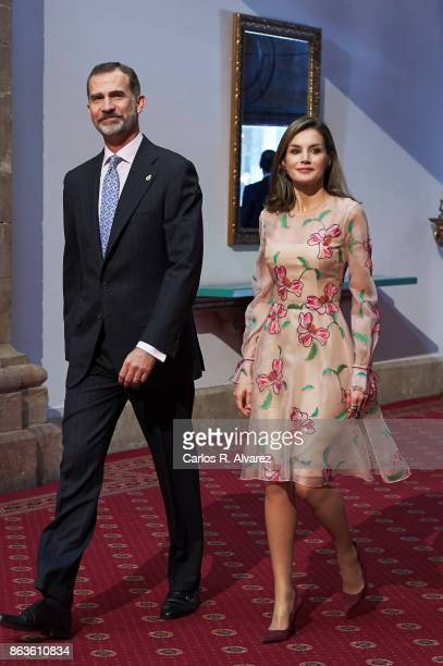 King Felipe VI of Spain and Queen Letizia of Spain attend the deliver of Princess of Asturias awards medals during the Princess of Asturias Award...