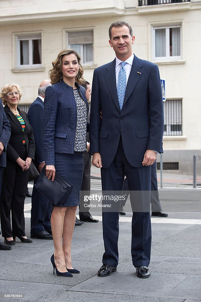 King Felipe VI of Spain and Queen Letizia of Spain attend the 'El Bosco' 5th Centenary Anniversary Exhibition at the El Prado Museum on May 27, 2016 in Madrid, Spain.
