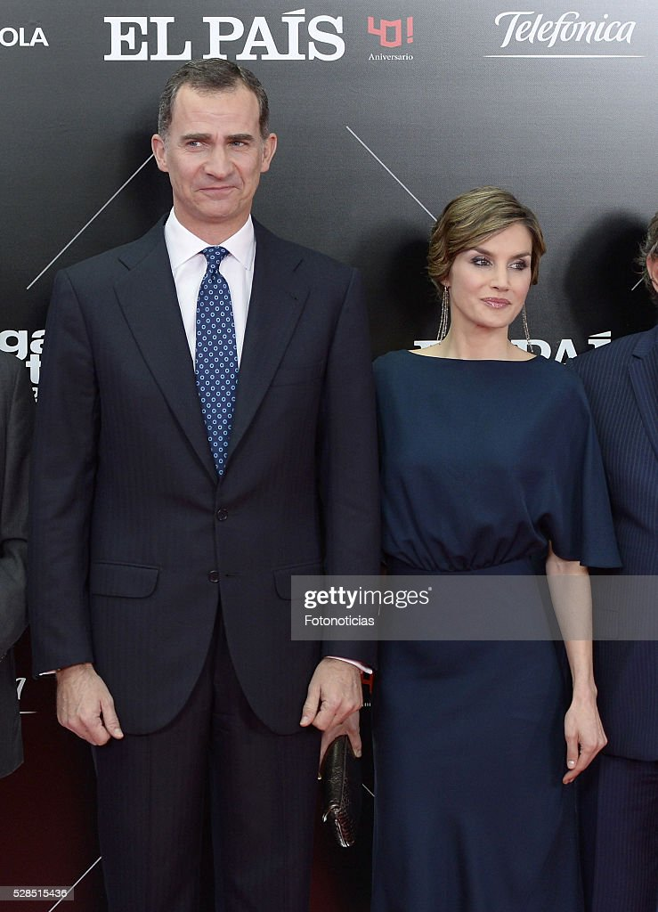 King Felipe VI of Spain and Queen Letizia of Spain attend the El Pais 40th anniversary dinner and 'Ortega y Gasset' awards ceremony at the Palacio de Cibeles on May 5, 2016 in Madrid, Spain.