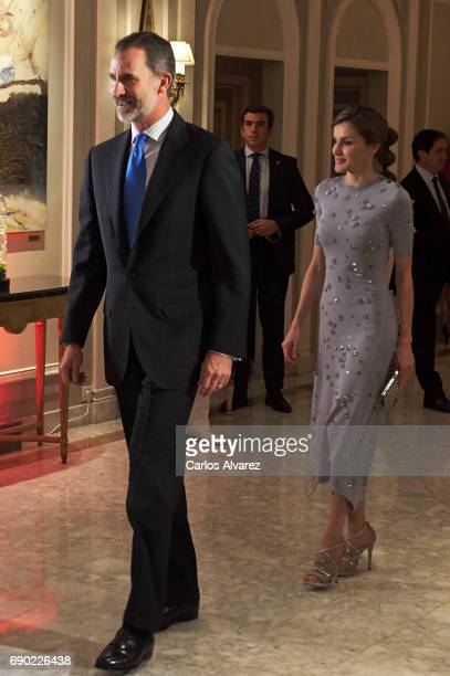 King Felipe VI of Spain and Queen Letizia of Spain attend the Europa Press news agency 60th Anniversary at the Villa Magna hotel on May 30 2017 in...