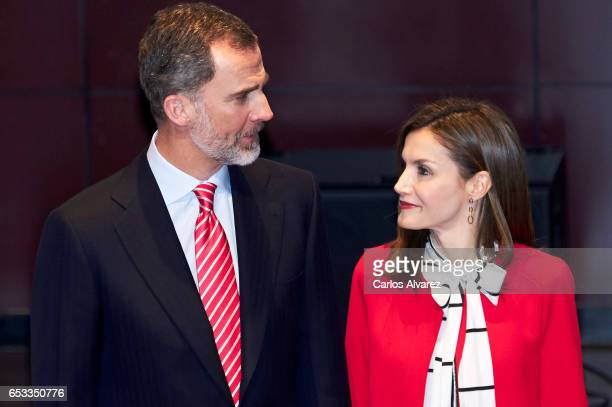 King Felipe VI of Spain and Queen Letizia of Spain attend the acreditations ceremony for honorary Spain 'Brand Ambassadors' at the Reina Sofia Museum...
