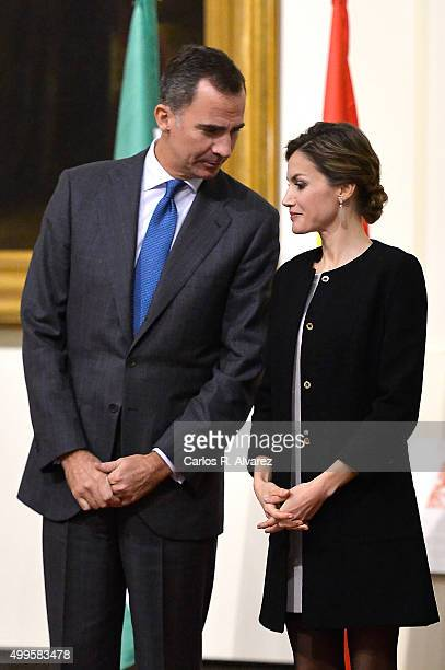 King Felipe VI of Spain and Queen Letizia of Spain attend the Gold Medals of Merit in Fine Arts 2014 ceremony at the Bellas Artes Museum on December...