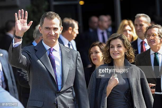 King Felipe VI of Spain and Queen Letizia of Spain attend the 'Miguel de Cervantes de La Vida Al Mito' opening exhibition at the National Library on...