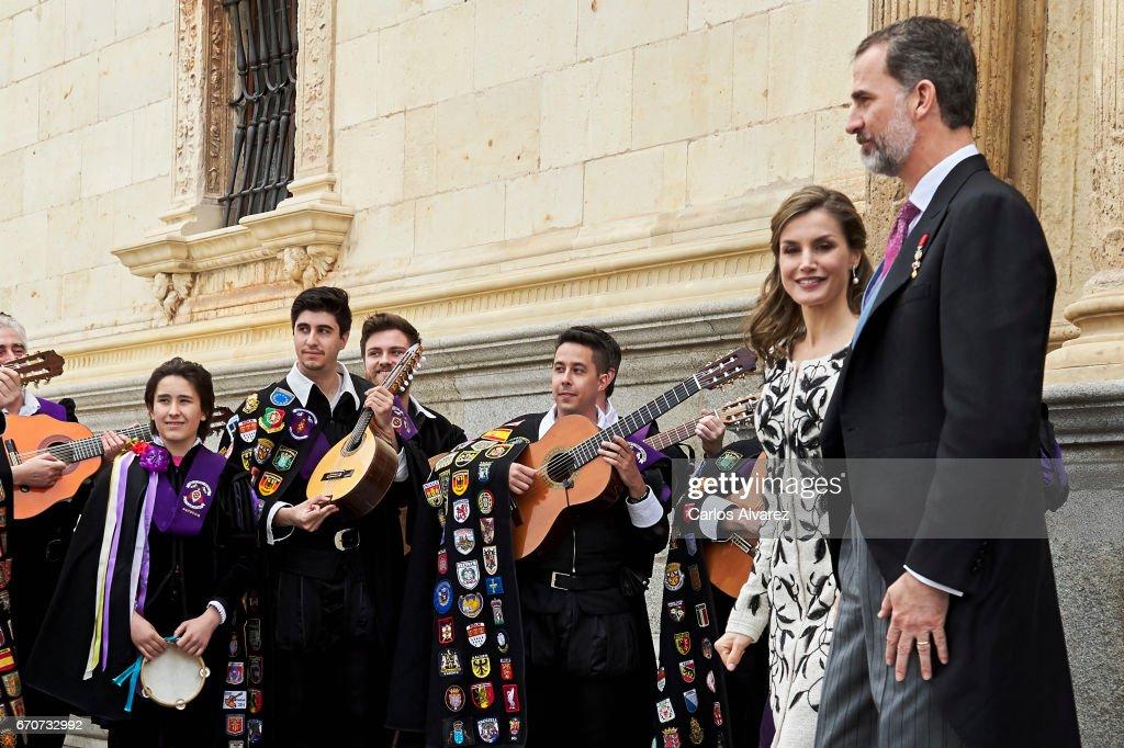 King Felipe VI of Spain (R) and Queen Letizia of Spain (2R) attend the 'Miguel de Cervantes 2016' Award, given to Spanish writer Eduardo Mendoza, at Alcala de Henares University on April 20, 2017 in Alcala de Henares, Spain.