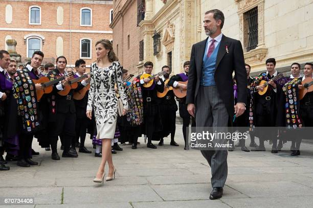 King Felipe VI of Spain and Queen Letizia of Spain attend the 'Miguel de Cervantes 2016' Award given to Spanish writer Eduardo Mendoza at Alcala de...