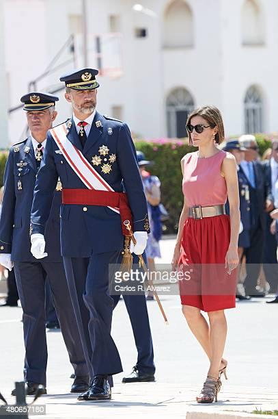 King Felipe VI of Spain and Queen Letizia of Spain attend the delivery of actual employment office at General Air Force Academy on July 14 2015 in...