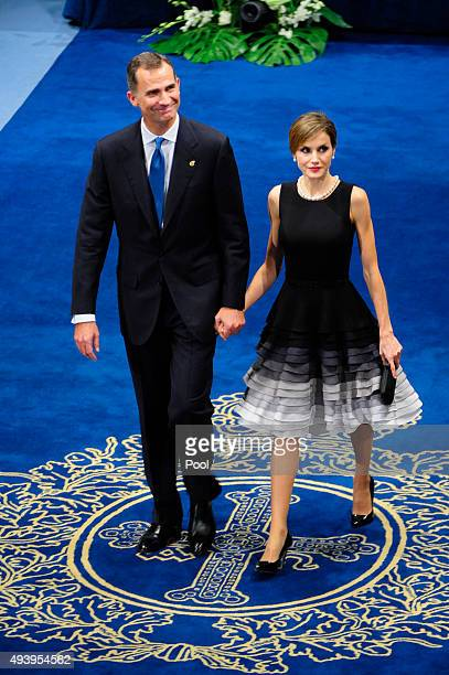 King Felipe VI of Spain and Queen Letizia of Spain attend the Princess of Asturias Awards 2015 at the Campoamor Theater on October 23 2015 in Oviedo...