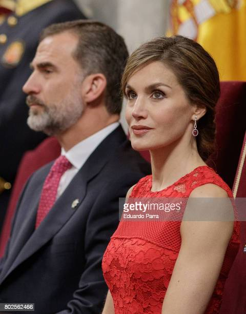 King Felipe VI of Spain and Queen Letizia of Spain attend the commemoration of first democracy election at Congress of deputies on June 28 2017 in...