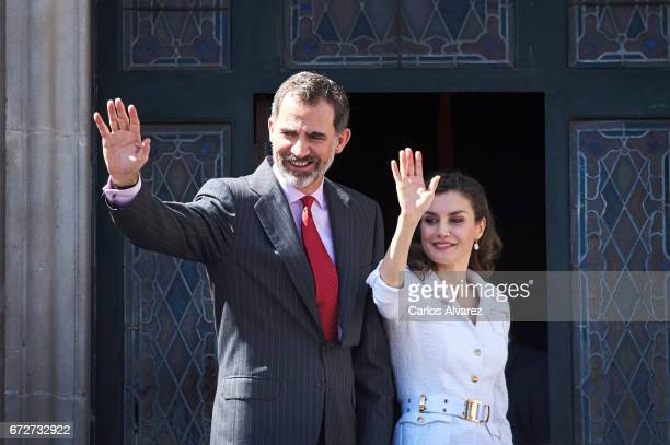 King Felipe VI of Spain and Queen Letizia of Spain attend the presentation of the 'Barrios por el Empleo' project at the Cabildo Insular on April 25...