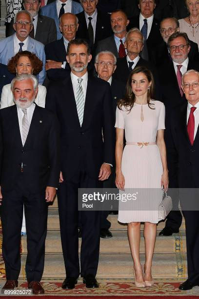 King Felipe VI of Spain and Queen Letizia of Spain attend the Presidency of the Plenary of the Spanish Royal Academy of Language 'RAE' on June 22...