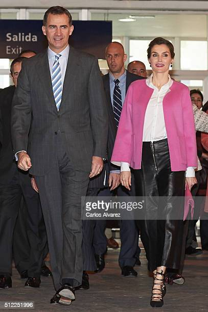 King Felipe VI of Spain and Queen Letizia of Spain attend the opening of ARCO 2016 at Ifema on February 25 2016 in Madrid Spain