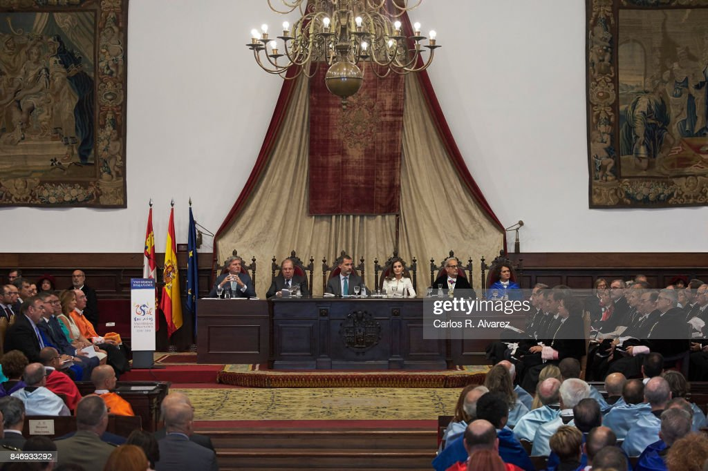 King Felipe VI of Spain and Queen Letizia of Spain attend the opening of the Scholar University College year at the Salamanca University on September 14, 2017 in Salamanca, Spain.