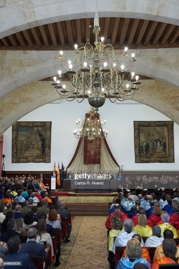 King Felipe VI of Spain and Queen Letizia of Spain (C) attend the opening of the Scholar University College year at the Salamanca University on September 14, 2017 in Salamanca, Spain.
