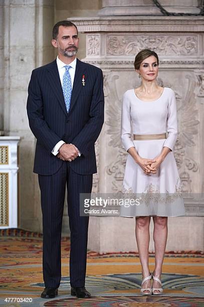 King Felipe VI of Spain and Queen Letizia of Spain attend the 'Order of the Civil Merit' ceremony at the Royal Palace on June 19 2015 in Madrid Spain...