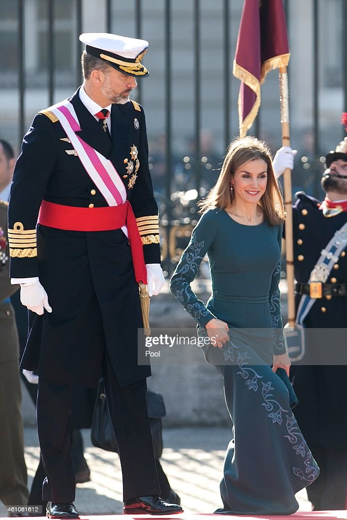 King Felipe VI of Spain and Queen Letizia of Spain attend the Pascua Militar ceremony at the Royal Palace on January 6 2015 in Madrid Spain