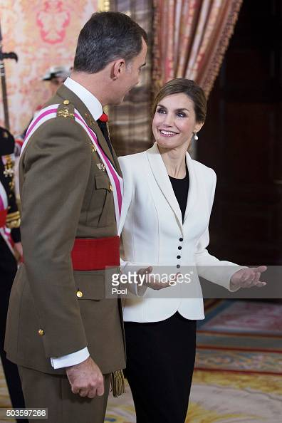King Felipe VI of Spain and Queen Letizia of Spain attend the Pascua Militar ceremony at the Royal Palace on January 6 2016 in Madrid Spain