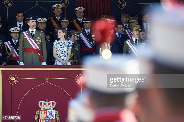 King Felipe VI of Spain and Queen Letizia of Spain attend the Royal Guards Flag Ceremony at the 'El Rey' Military Barracks on May 22 2015 in El Pardo...
