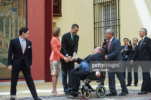 King Felipe VI of Spain and Queen Letizia of Spain attend the the Bicentenary of the Council of the Greatness of Spain at the El Pardo Palace on June...