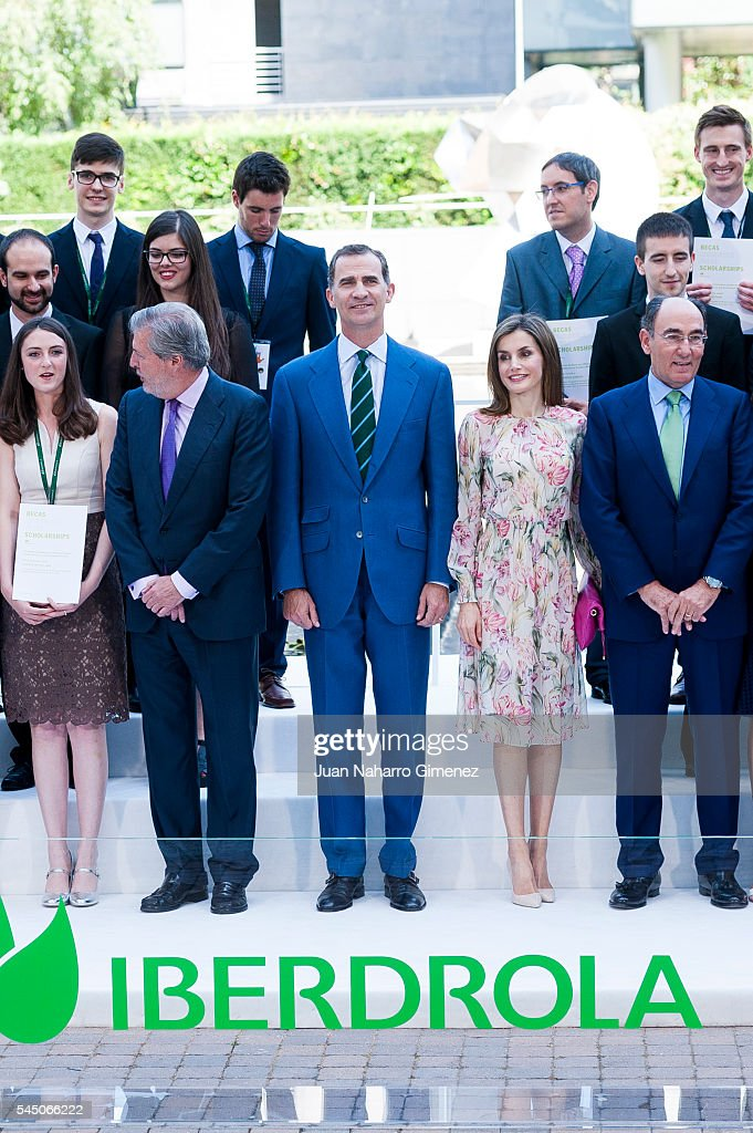 King Felipe VI of Spain (L) and Queen Letizia of Spain attend to deliver Iberdrola Foundation Scholarships at Iberdrola building on July 5, 2016 in Madrid, Spain.