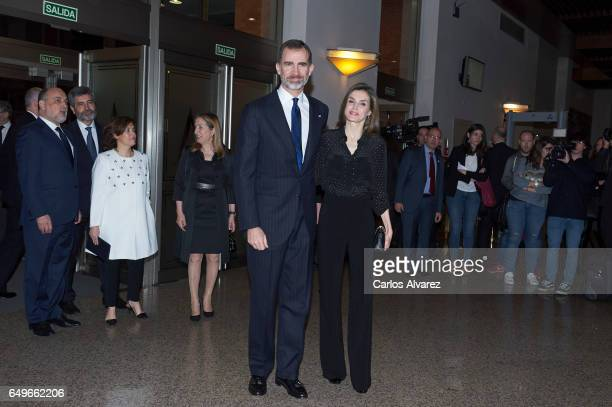 King Felipe VI of Spain and Queen Letizia of Spain attend tribute concert 'In Memoriam' for terrorism victims at the Auditorio Nacional de Musica on...