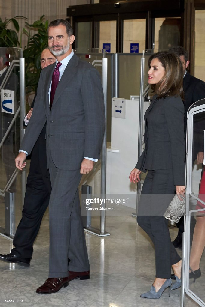 Spanish Royals Attend A Meeting at The National Library in Madrid