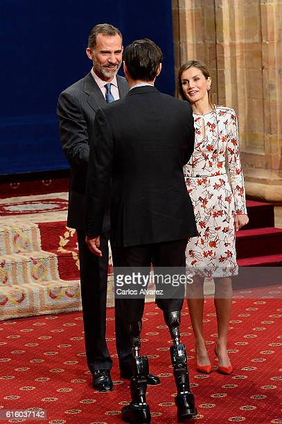 King Felipe VI of Spain and Queen Letizia of Spain attends several audiences during the Princess of Asturias awards 2016 at the Reconquista Hotel on...