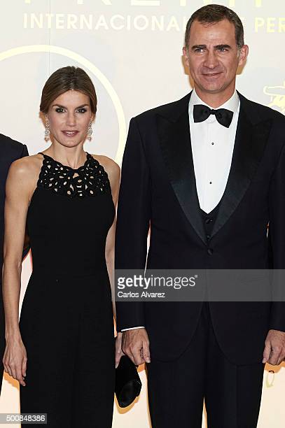 King Felipe VI of Spain and Queen Letizia of Spain attends the 'Mariano De Cavia' awards on December 10 2015 in Madrid Spain