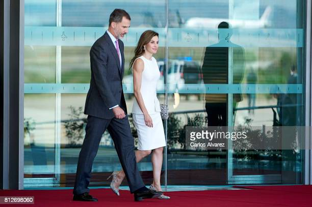 King Felipe VI of Spain and Queen Letizia of Spain depart for an official visit to United Kingdom at the Barajas Airport on July 11 2017 in Madrid...