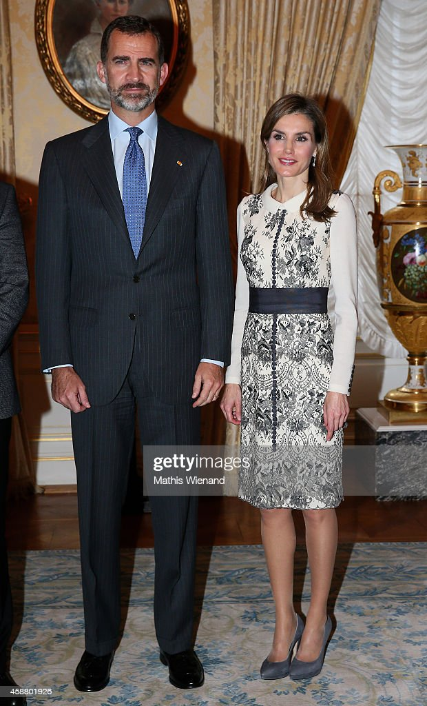King Felipe VI of Spain and Queen Letizia of Spain during a one day visit to Luxembourg on November 11, 2014 in Luxembourg, Luxembourg.
