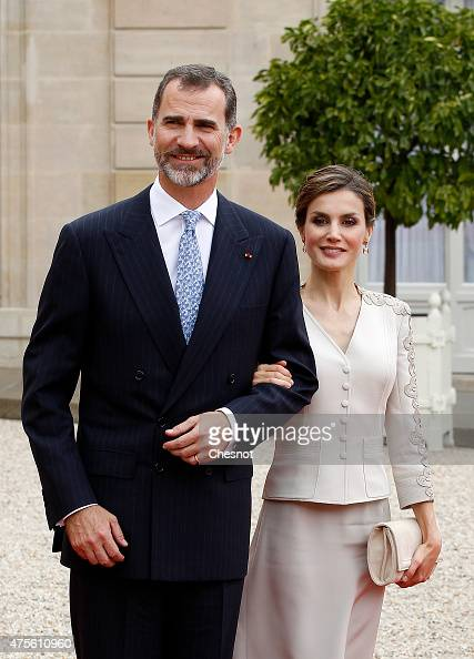 King Felipe VI of Spain and Queen Letizia of Spain leave after a meeting with French President Francois Hollande at the Elysee Palace on June 2 2015...