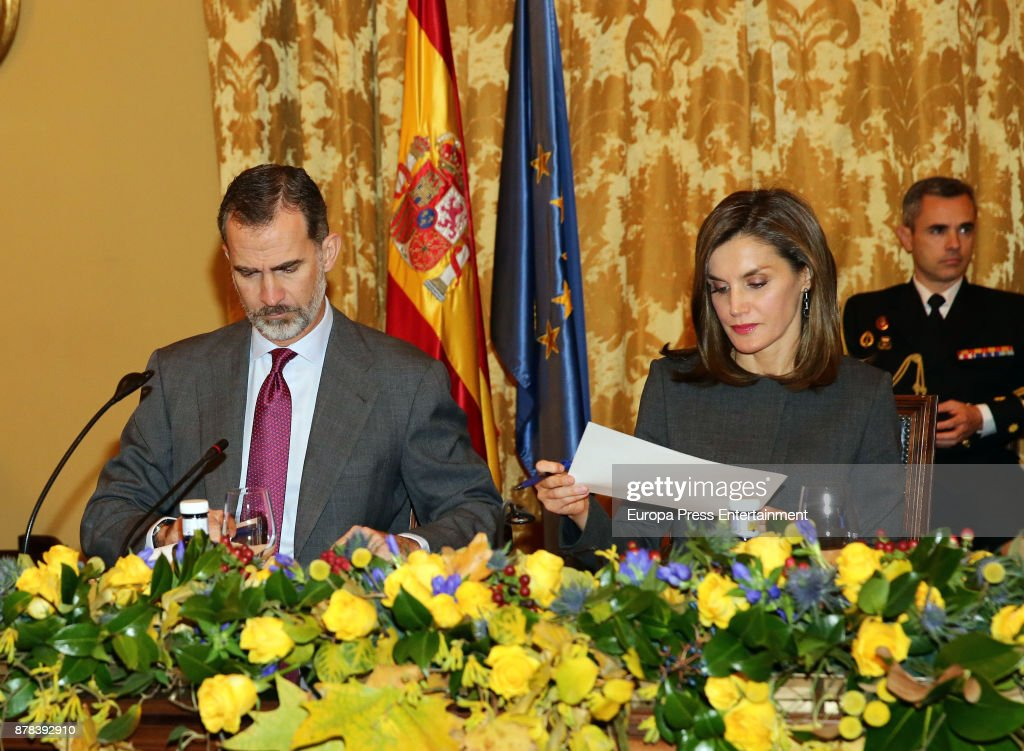 Spanish Royals Attend The National Library Meeting